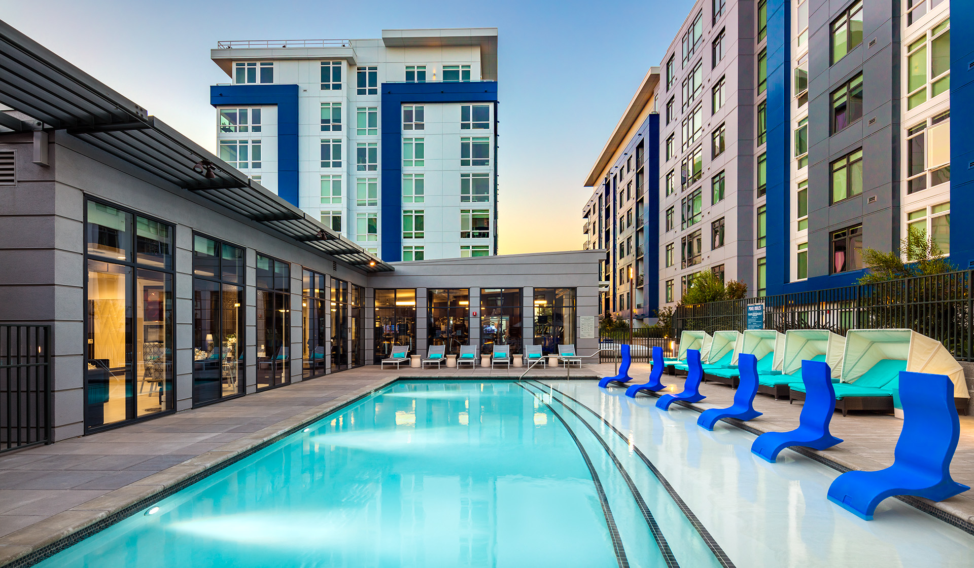 Luxury Apartment Homes and Penthouses available for rent in Redwood City, CA - Indigo Apartment Homes - Swimming Pool
